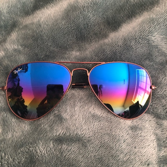 3cdf147690 Ray-Ban RB3025 Rainbow Lenses Aviators Sunglasses